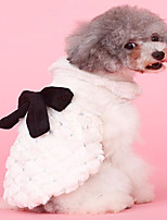 baratos -Cachorros / Gatos Casacos Roupas para Cães Sólido / Laço Bege Felpudo Ocasiões Especiais Para animais de estimação Feminino Estiloso / Laço