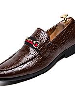 baratos -Homens Sapatos Confortáveis Couro Ecológico Outono Formais Mocassins e Slip-Ons Respirável Preto / Marron