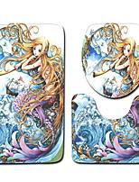 Недорогие -3 предмета Мультяшная тематика Коврики для ванны 100 г / м2 полиэфирный стреч-трикотаж Креатив Прямоугольная Ванная комната Очаровательный