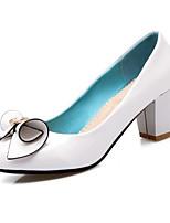 Недорогие -Жен. Комфортная обувь Лакированная кожа Весна Обувь на каблуках На толстом каблуке Белый / Черный / Розовый
