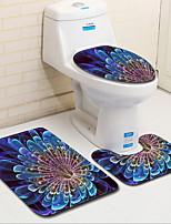 baratos -3 Peças Tradicional / Modern Tapetes Anti-Derrapantes Poliéster Elástico Tricotado 100g / m2 Criativo Retângular Banheiro Fácil de limpar