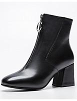 Недорогие -Жен. Fashion Boots Наппа Leather Зима Ботинки На толстом каблуке Закрытый мыс Ботинки Черный / Бежевый / Красный