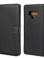 Недорогие -Кейс для Назначение SSamsung Galaxy Note 9 Кошелек / Бумажник для карт / Защита от удара Чехол Однотонный Твердый Настоящая кожа для Note 9