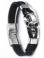 Недорогие -Муж. Старинный Кожаные браслеты - Титановая сталь Череп Панк, европейский Браслеты Черный Назначение Для улицы