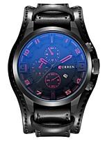Недорогие -CURREN Муж. Спортивные часы Японский Японский кварц 30 m Защита от влаги Календарь Повседневные часы Кожа Группа Аналоговый На каждый день Мода Черный / Коричневый - Черный Коричневый