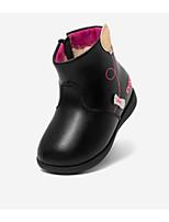 Недорогие -Девочки Обувь Синтетика Наступила зима Удобная обувь / Обувь для малышей Кеды Цветы из сатина для Дети / Дети (1-4 лет) Черный / Красный