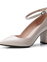 Недорогие -Жен. Комфортная обувь Овчина Зима Обувь на каблуках На толстом каблуке Черный / Розовый / Миндальный