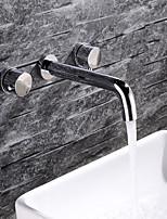 abordables -Robinet lavabo - Design nouveau Chrome Installation Murale Deux poignées trois trous