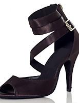 Недорогие -Жен. Обувь для латины Сатин На каблуках Планка Тонкий высокий каблук Танцевальная обувь Черный / Телесный