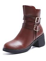 Недорогие -Жен. Fashion Boots Полиуретан Зима Ботинки На толстом каблуке Круглый носок Сапоги до середины икры Черный / Темно-коричневый