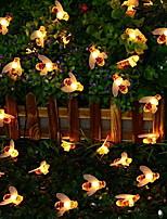 baratos -5m Cordões de Luzes 20 LEDs Branco Quente Decorativa Alimentado por Energia Solar 1conjunto