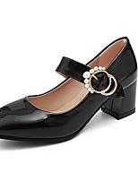 Недорогие -Жен. Комфортная обувь Лакированная кожа Весна Обувь на каблуках На толстом каблуке Черный / Красный / Розовый