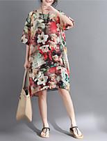 baratos -Mulheres Básico Manga Princesa Reto Vestido - Estampado, Floral Altura dos Joelhos Flor do sol