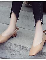 Недорогие -Жен. Комфортная обувь Полиуретан Весна Обувь на каблуках На толстом каблуке Бежевый / Серый / Миндальный