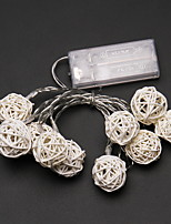 Недорогие -1,2 м Гирлянды 10 светодиоды Белый Декоративная Аккумуляторы AA 1 комплект