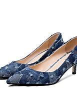 Недорогие -Жен. Комфортная обувь Деним Весна Обувь на каблуках На шпильке Синий