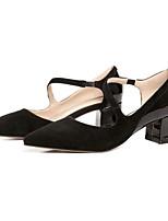 Недорогие -Жен. Балетки Замша Лето Обувь на каблуках На толстом каблуке Черный / Розовый