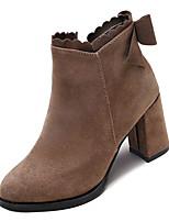 Недорогие -Жен. Fashion Boots Полиуретан Осень Минимализм Ботинки На толстом каблуке Заостренный носок Ботинки Черный / Хаки