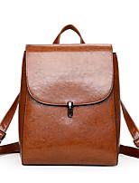 Недорогие -Жен. Мешки PU рюкзак Молнии Сплошной цвет Коричневый / Черный / Серый