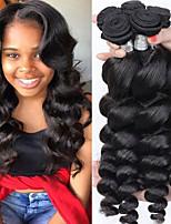 Недорогие -3 Связки Перуанские волосы Свободные волны Необработанные / Натуральные волосы Человека ткет Волосы / Пучок волос / One Pack Solution 8-28 дюймовый Естественный цвет Ткет человеческих волос