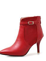 Недорогие -Жен. Fashion Boots Полиуретан Осень Ботинки На шпильке Закрытый мыс Ботинки Черный / Красный / Зеленый
