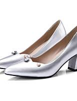 Недорогие -Жен. Комфортная обувь Микроволокно Весна Обувь на каблуках На толстом каблуке Золотой / Серебряный / Красный