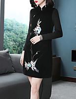 abordables -Femme Sortie Sophistiqué / Elégant Au dessus du genou Trapèze / Noir Robe - Brodée, Fleur Mao Hiver Noir L XL XXL Manches Longues