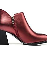Недорогие -Жен. Fashion Boots Наппа Leather Зима Ботинки На толстом каблуке Закрытый мыс Ботинки Вино