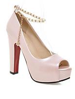 Недорогие -Жен. Балетки Полиуретан Весна лето Обувь на каблуках На толстом каблуке Черный / Серый / Розовый