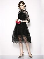 Недорогие -Жен. Изысканный / Элегантный стиль А-силуэт / Маленькое черное Платье - Однотонный, Кружева / Бант Средней длины