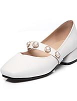 Недорогие -Жен. Балетки Полиуретан Весна Обувь на каблуках Блочная пятка Белый / Черный / Оранжевый