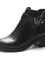Недорогие -Жен. Fashion Boots Полиуретан Осень Ботинки На низком каблуке Круглый носок Ботинки Черный / Темно-коричневый
