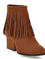 Недорогие -Жен. Fashion Boots Замша Осень Ботинки На толстом каблуке Закрытый мыс Ботинки Серый / Миндальный / Темно-русый