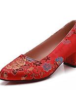 Недорогие -Жен. Комфортная обувь Сатин Весна Обувь на каблуках На толстом каблуке Красный