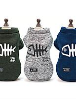 baratos -Cachorros Súeters Roupas para Cães Palavra / Frase / Desenho Animado / Formais Azul Escuro / Cinzento / Verde Escuro Algodão Ocasiões Especiais Para animais de estimação Unisexo Com Logotipo