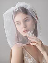abordables -Une couche Style Mignon Voiles de Mariée Voiles Blush avec Cristaux / Stras 15.75 (40cm) Coton / nylon avec un soupçon d'étirement