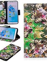 billiga -fodral Till Huawei Mate 10 lite / Huawei Mate 20 Pro Plånbok / Korthållare / med stativ Fodral Fjäril Hårt PU läder för Huawei Nova 3i / Huawei P Smart Plus / Honor 7A