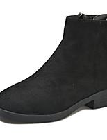 Недорогие -Жен. Fashion Boots Полиуретан Осень Минимализм Ботинки На низком каблуке Круглый носок Сапоги до середины икры Черный / Серый