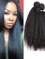 abordables -3 offres groupées Cheveux Brésiliens / Cheveux Malaisiens Droit Yaki Non Traités / Cheveux humains Cadeaux / Tissages de cheveux humains / Accessoire de Costume 8-28 pouce Couleur naturelle Tissages