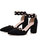 abordables -Femme Chaussures de confort Daim Eté Chaussures à Talons Talon Bottier Noir / Jaune / Rose