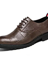 baratos -Homens Sapatos Confortáveis Couro Ecológico Outono Negócio Oxfords Não escorregar Preto / Marron