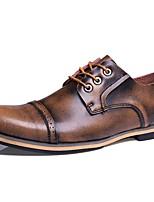 Недорогие -Муж. Официальная обувь Кожа Осень Классика / Английский Туфли на шнуровке Сохраняет тепло Коричневый / Синий