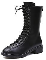 baratos -Mulheres Fashion Boots Sintéticos Inverno Casual / Formais Botas Salto Robusto Botas Cano Médio Preto