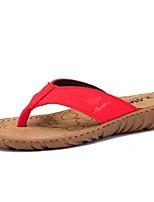 Недорогие -Жен. Комфортная обувь Кожа Лето Винтаж / На каждый день Тапочки и Шлепанцы На плоской подошве Черный / Коричневый / Красный