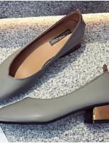 Недорогие -Жен. Комфортная обувь Полиуретан Весна Обувь на каблуках На толстом каблуке Серый / Миндальный