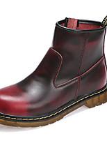 Недорогие -Жен. Fashion Boots Кожа Зима Классика / На каждый день Ботинки На плоской подошве Сапоги до середины икры Черный / Коричневый / Винный