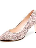 Недорогие -Жен. Комфортная обувь Полотно Осень Обувь на каблуках На шпильке Серебряный / Розовый / Свадьба / Повседневные
