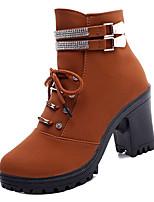 Недорогие -Жен. Ботильоны Полиуретан Осень На каждый день Ботинки На толстом каблуке Круглый носок Ботинки Черный / Темно-русый