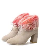 Недорогие -Жен. Комфортная обувь Замша Наступила зима Ботинки На толстом каблуке Черный / Миндальный