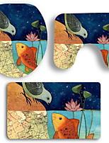 Недорогие -3 предмета Modern Коврики для ванны 100 г / м2 полиэфирный стреч-трикотаж Креатив / Животное нерегулярный Ванная комната Очаровательный / обожаемый